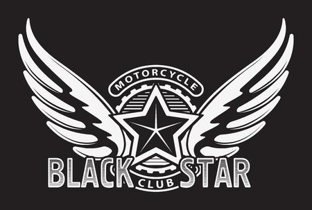 racing wings: Black star motorcycle club design for emblem