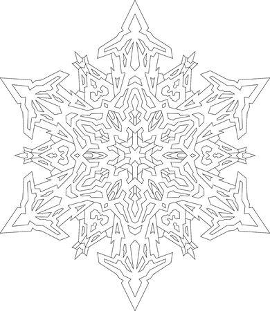 Contornos De Copo De Nieve En Estilo De Línea Mono. Patrón ...