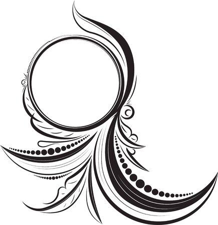 mendi: Round vintage frame for your design. Vector illustration.