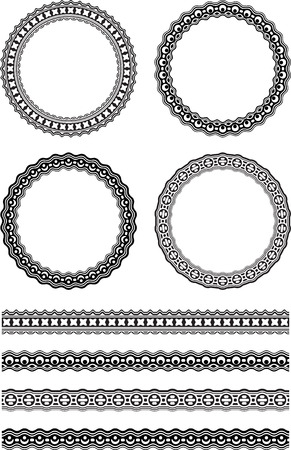 linea decorativa: Set of four decorative round frames and four decorative line borders in similar style. Vectores