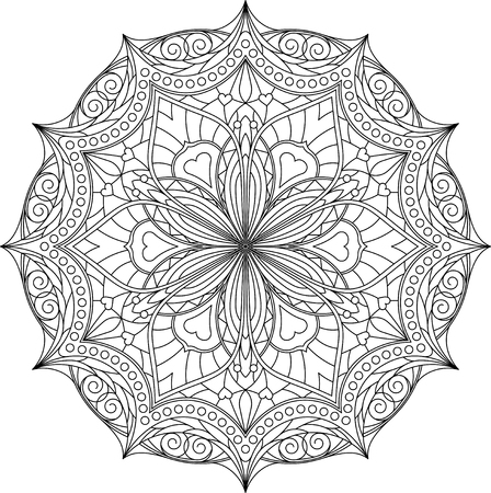 decorative element: Abstract vector black round, hexagonal lace design in mono line style - mandala, ethnic decorative element. Illustration