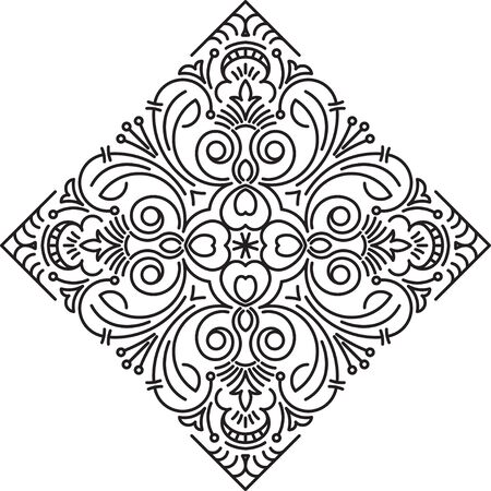 an amulet: Abstract vector black rhombus lace design in mono line style - mandala, ethnic decorative element.