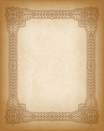 portadas de libros: Tarjeta de felicitación Vintage Retro o invitación. Elementos de la vendimia, decorativos sobre, documento de antecedentes grunge de edad. India, motivos persa, islam, árabe.