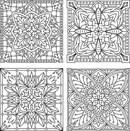 Set of 4 abstract vector black square lace designs in mono line style - mandala, ethnic decorative elements. Can be used as anti stress therapy.