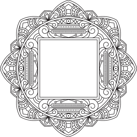 judaic: Unusual, lace frame, decorative element with square empty place for your text. Vector illustration. Illustration