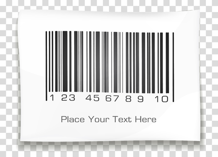 bar: Bar code label with shadow on a transparent background. Vector illustration. Illustration