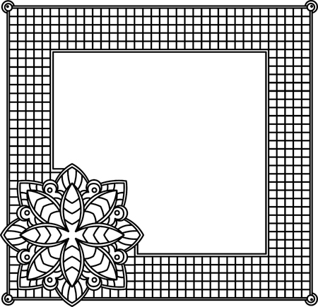 mosaic tiles: Square decorative frame with abstract flower. Style mosaic, mosaic tiles.