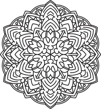 mandala vector: Abstract vector black round lace design in mono line style - mandala, ethnic decorative element.
