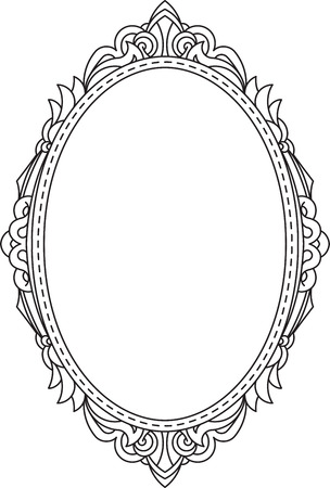 Antique, vintage, oval frame with blank space for text. May be used as greeting card or invitation, vector illustration, template in retro style. Illustration