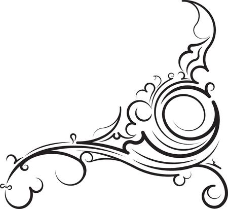 Esquina floral ornamental. Ilustración vectorial para su diseño o tatuaje. Foto de archivo - 46530464
