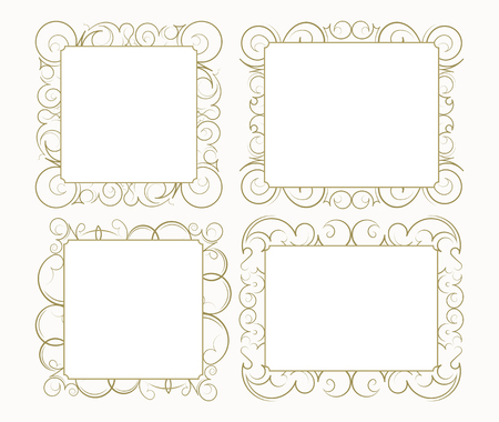 lacework: Set out of 4 decorative lace ornament, vintage frame with square empty place for your text. Vector illustration greeting, vintage invitation in beige, neutral colors.