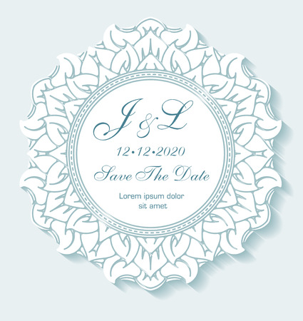 Circle paper lace ornament, round ornamental geometric doily pattern with empty space for text. Vector illustration greeting, vintage wedding invitation, save the date wedding. Background gentle mint turquoise color