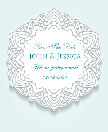lacework: Circle paper lace ornament, round ornamental geometric doily pattern with empty space for text. Vector illustration greeting, vintage wedding invitation, save the date wedding. Background gentle mint turquoise color