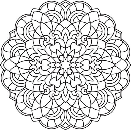 mendi: Abstract black round lace design in mono line style - mandala, ethnic decorative element. Illustration