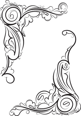 Pair of ornamental floral corners. illustration for your design or tattoo.