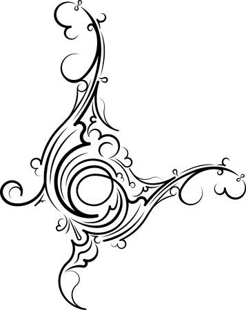 Ornamental floral corner. illustration for your design or tattoo.