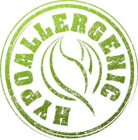 hypoallergenic: Abstract green grunge rubber stamp with caption HYPOALLERGENIC and pair of leaves Illustration