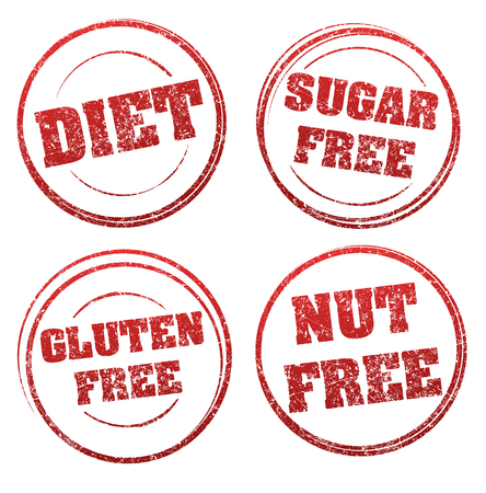 regimen: Set of four red grunge rubber stamps with captions: DIET, SUGAR FREE, GLUTEN FREE, NUT FREE Illustration
