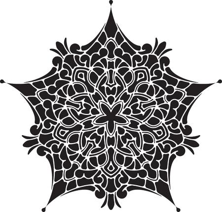 mendi: Abstract vector black lace design - five-finger mandala, ethnic decorative element. tattoo.