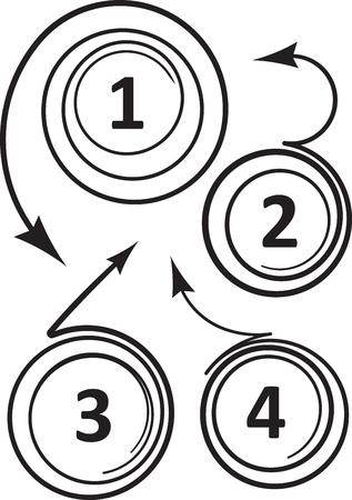 flechas curvas: Conjunto de 4 inusuales en espiral flechas curvadas iconos para números o diseño publicitario. Ilustración vectorial
