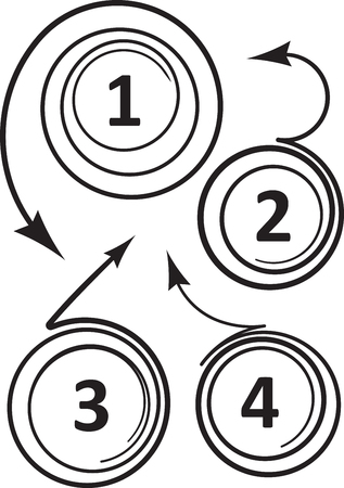 coiled: Set of 4 unusual coiled curved arrows icons for numbers or advertising design. Vector illustration Illustration