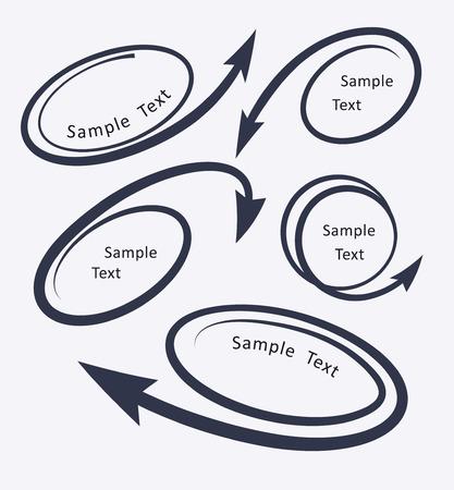 flechas curvas: Conjunto de 5 coiled curv� flechas iconos para texto o dise�o publicitario. Ilustraci�n vectorial