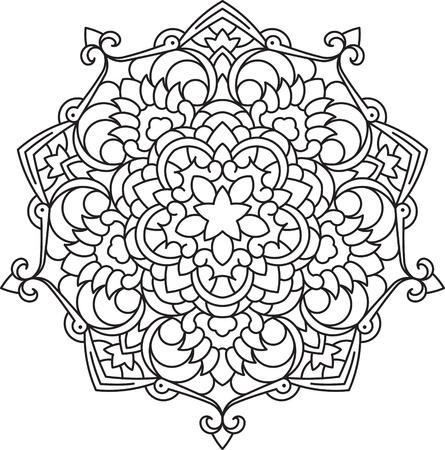 Abstract vector black lace design in mono line style - five-finger mandala, ethnic decorative element.