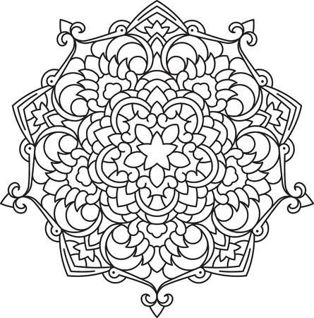 Abstract vector black lace design in mono line style - five-finger mandala, ethnic decorative element.