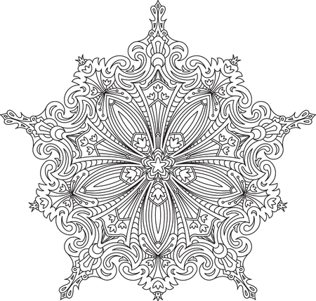 serviette: Abstract vector black lace design in mono line style - five-finger mandala, ethnic decorative element.