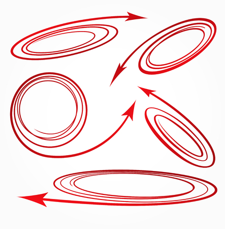 flechas curvas: Juego de 5 rojo espiral flechas curvadas iconos para texto o diseño publicitario. Ilustración vectorial Vectores
