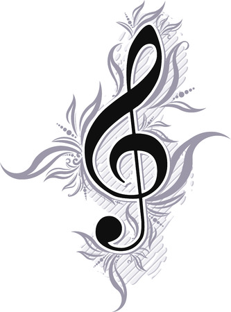 treble clef: Abstract musical background with treble clef.