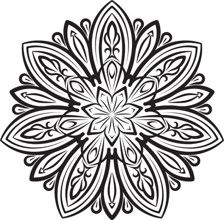 heptagon: Abstract vector black round, heptagon lace design - mandala, ethnic decorative element.