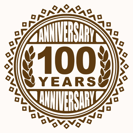 pleasant: Vintage anniversary 100 years round emblem. Retro styled vector background in pleasant tones