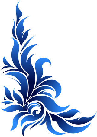 floral corner: Vector decorative floral corner in blue tones.