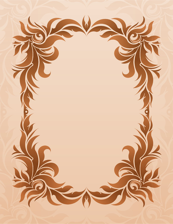 blank space: Luxurious vintage frame on grunge background with  blank space for text. Retro vintage greeting card or invitation. Illustration