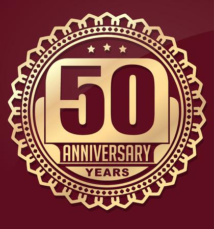 aniversario: Vintage aniversario emblema 50 años ronda. Estilo retro vector de fondo en tonos rojos.