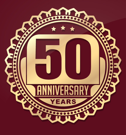 anniversary celebration: Vintage anniversary 50 years round emblem. Retro styled vector background in red tones.
