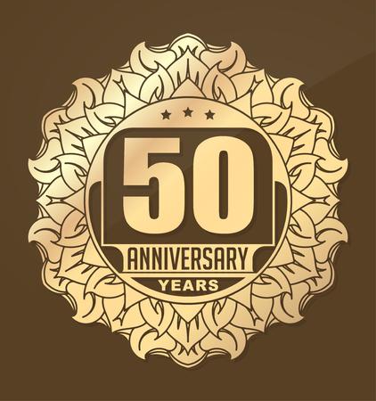 aniversario de boda: Vintage aniversario de 50 años emblema redondo con estilo del Sol. Retro estilo de la decoración del vector en tonos de oro sobre fondo oscuro.