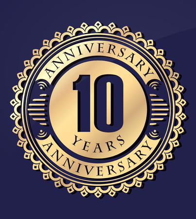 10 years anniversary: Vintage anniversary 10 years round emblem. Retro styled vector background in gold tones on dark blue background. Illustration