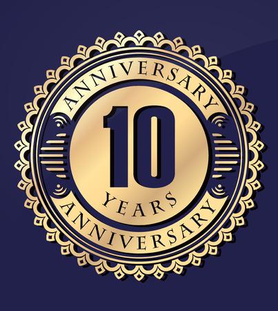 anniversary: Vintage anniversary 10 years round emblem. Retro styled vector background in gold tones on dark blue background. Illustration