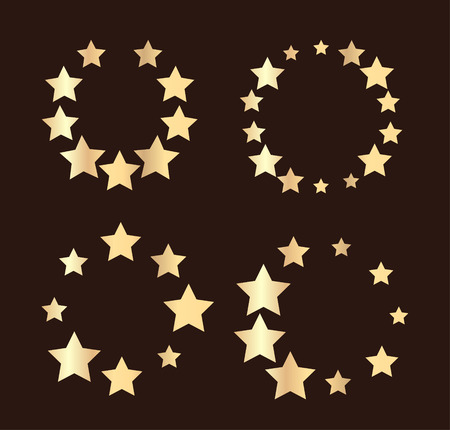 sized: Set of four unusual vector round frames made from little different sized stars - gold on a black background Illustration