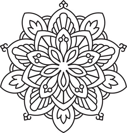 mendi: Abstract vector black round lace design - mandala, ethnic decorative element. Can be used as anti stress therapy.