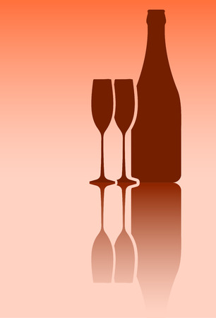 mirror reflection: Bottle of wine and pair of glasses in red tones with mirror reflection