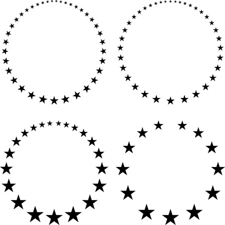 sized: Set of four unusual vector round frames made from little different sized stars Illustration