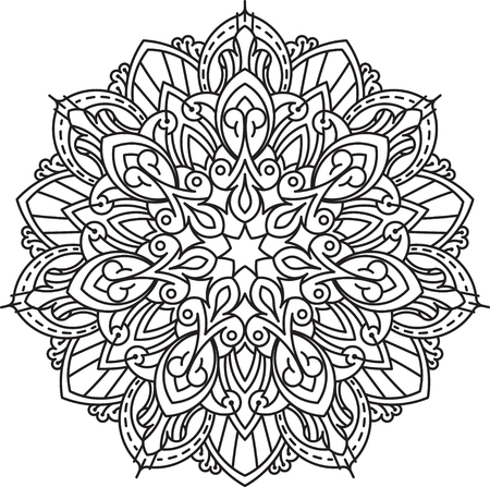 heptagon: Abstract vector black round, heptagon lace design in mono line style - mandala, ethnic decorative element.