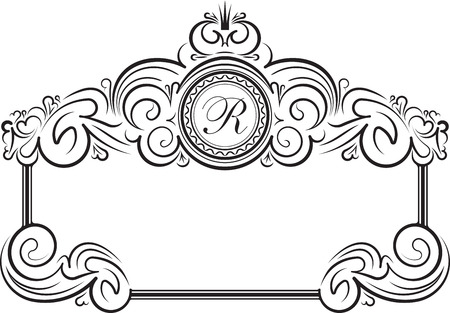 black borders: Unusual, decorative lace ornament, vintage frame with crown and round place for monogram.