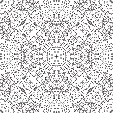 Rich decorated calligraphic outlined stroke monochrome seamless pattern. Ilustração
