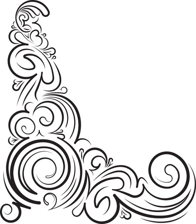 corner ornament: Rich decorated ornamental floral corner. illustration for your design or tattoo.
