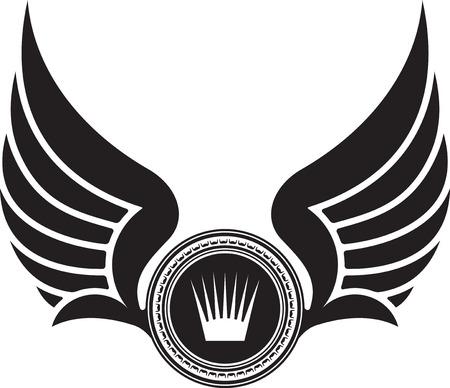corona real: Diseño heráldico con alas y corona