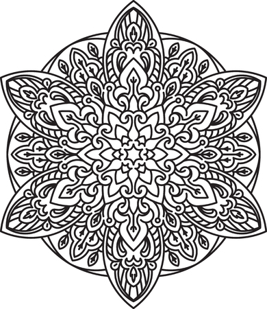 anti stress: Abstract black round lace design - mandala, ethnic decorative element. Can be used as anti stress therapy.